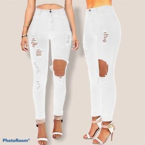 Vibrant High Waisted White Ripped Skinny Jeans /25